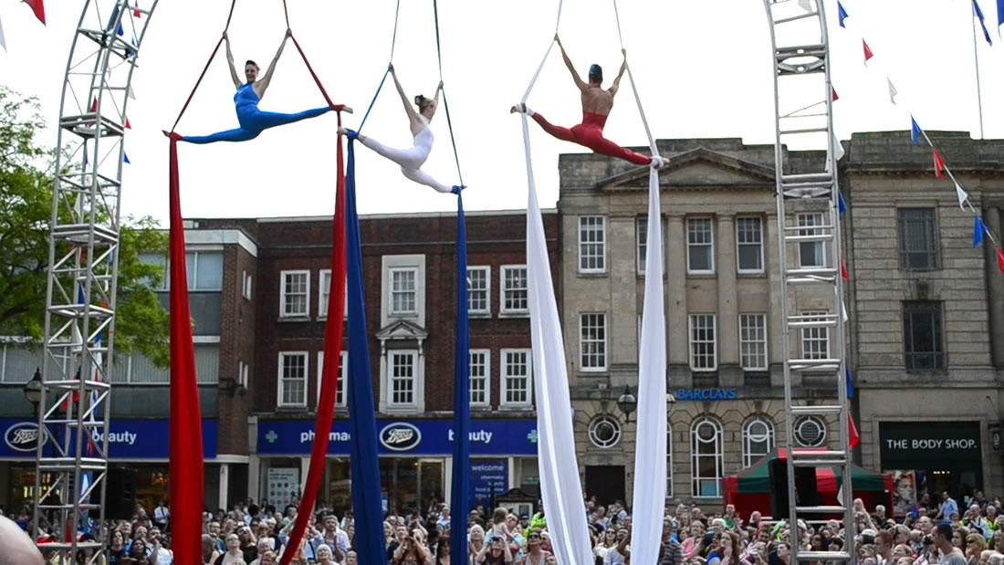 Aerial Shows - Silks Gallery - Olympic torch Stafford 2