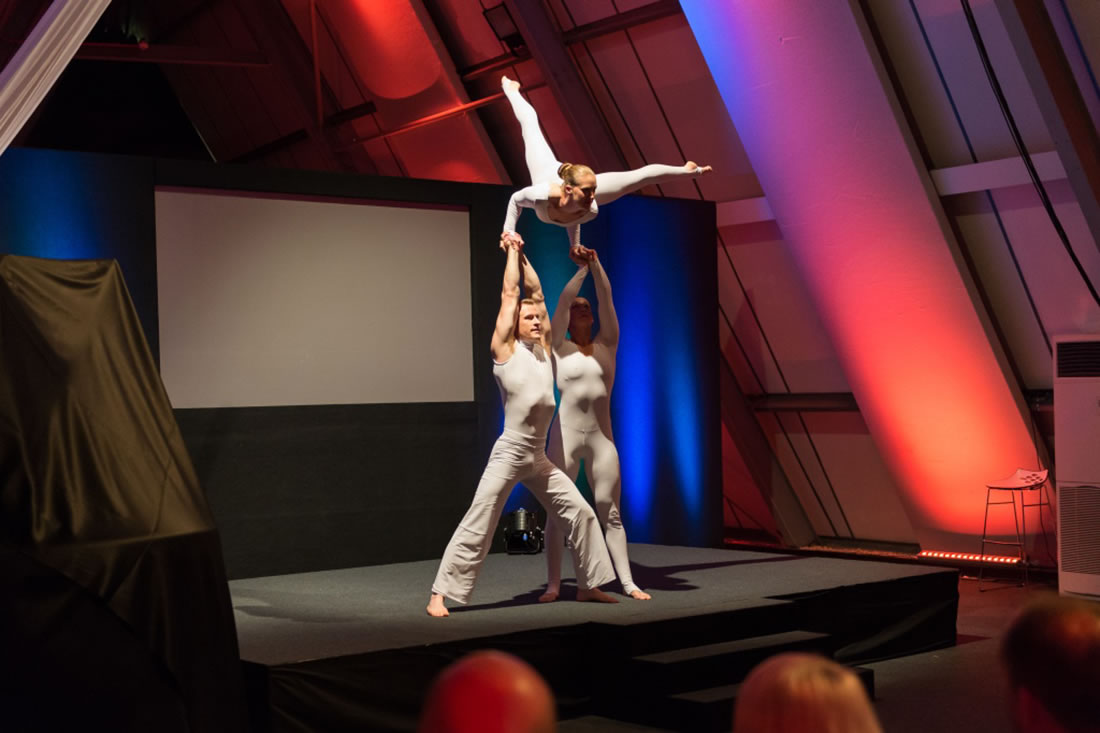 Groundbased Shows - Acrobats Gallery - Acrobatic Trio for Doosan G2 launch at Millbrook 2
