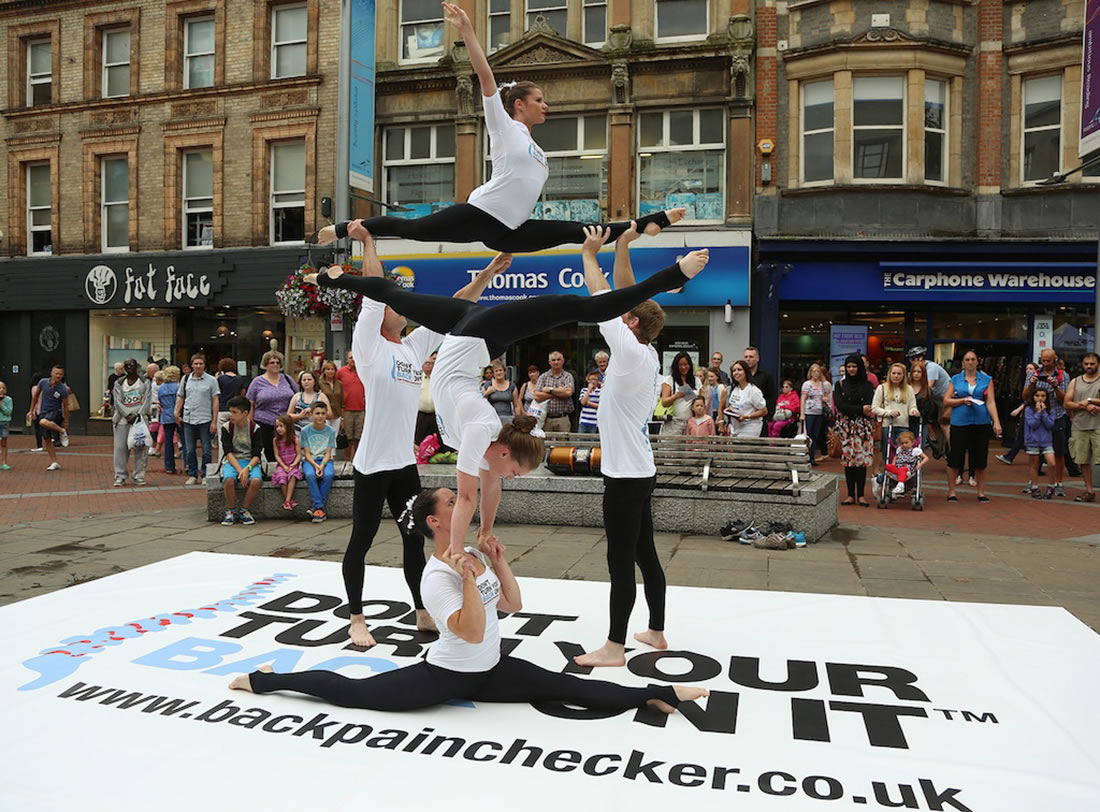 Groundbased Shows - Acrobats Gallery - Acrobatic Troupe - Backpain Awareness Campaign, Bath
