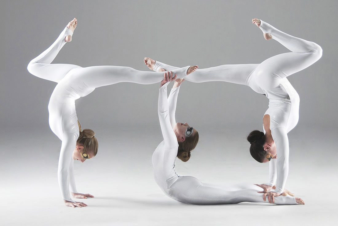 Groundbased Shows - Acrobats Gallery - All Girls Troupe in Corporate white costumes 4
