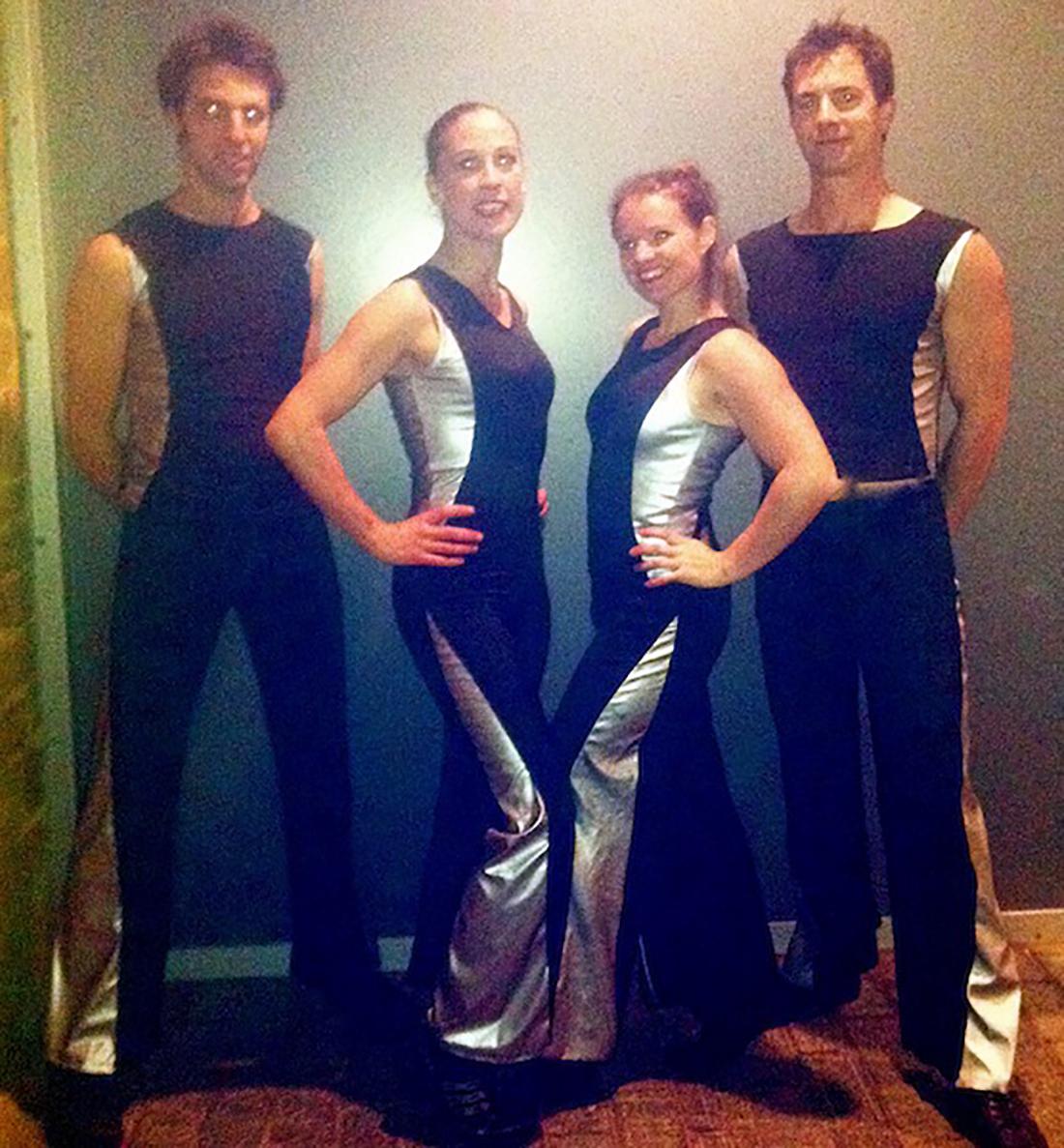 Silver & black fire costumes