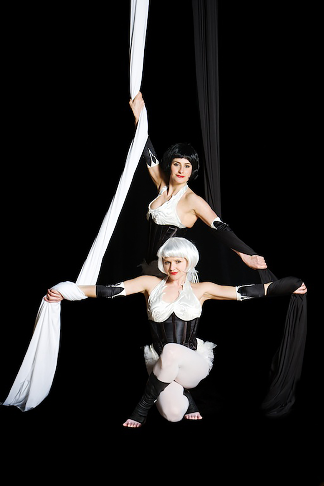 White & black corsets with or without wigs