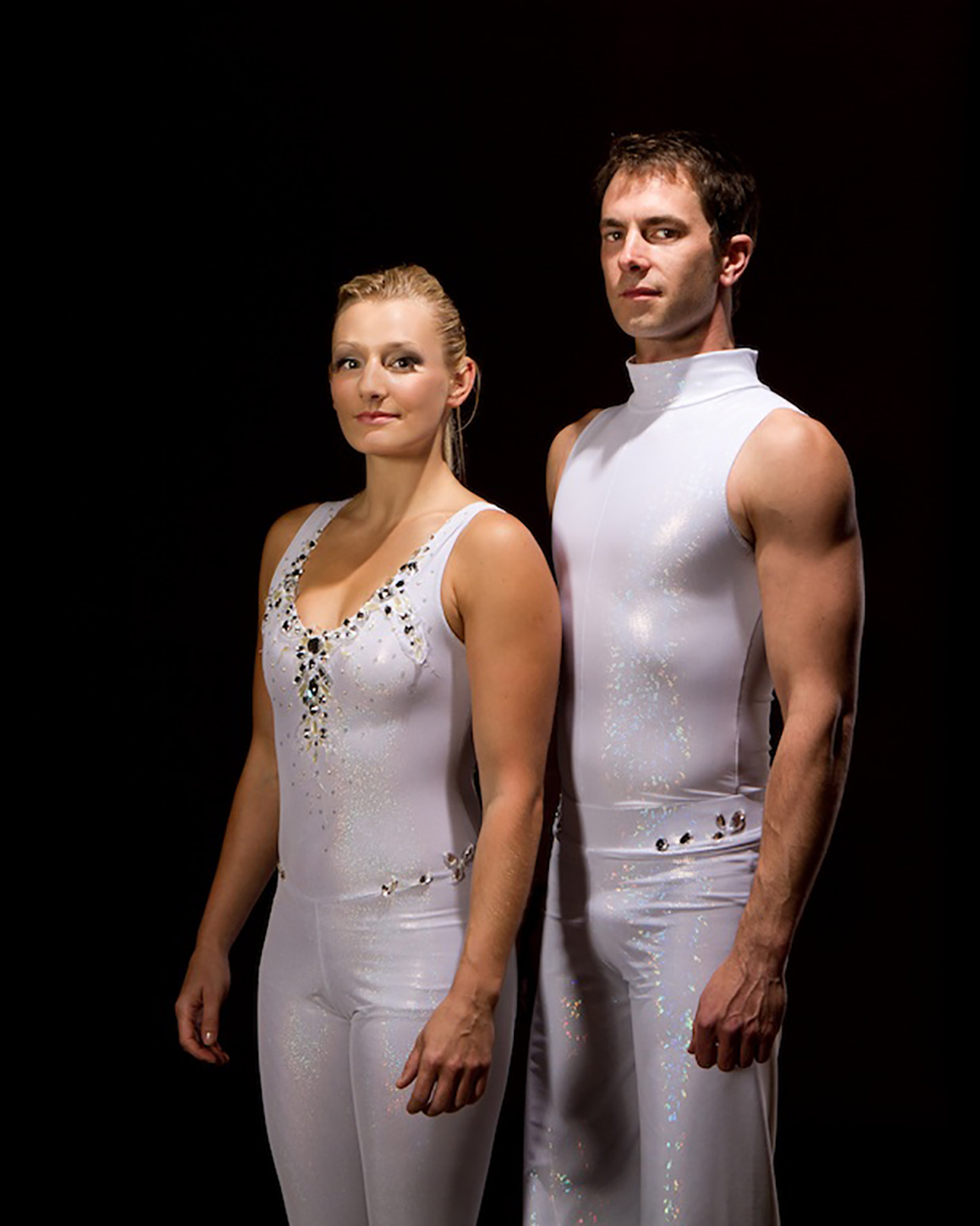 White catsuits with Swarovski crystals
