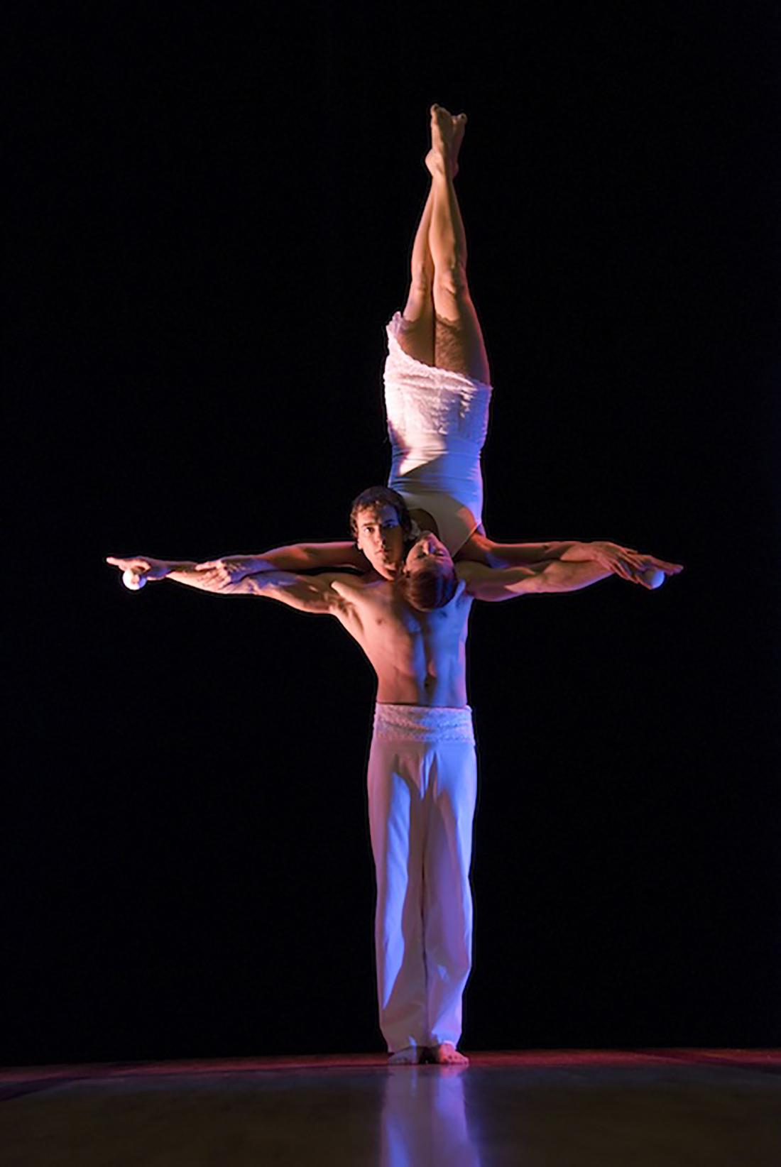 White trousers & acrobatic dress