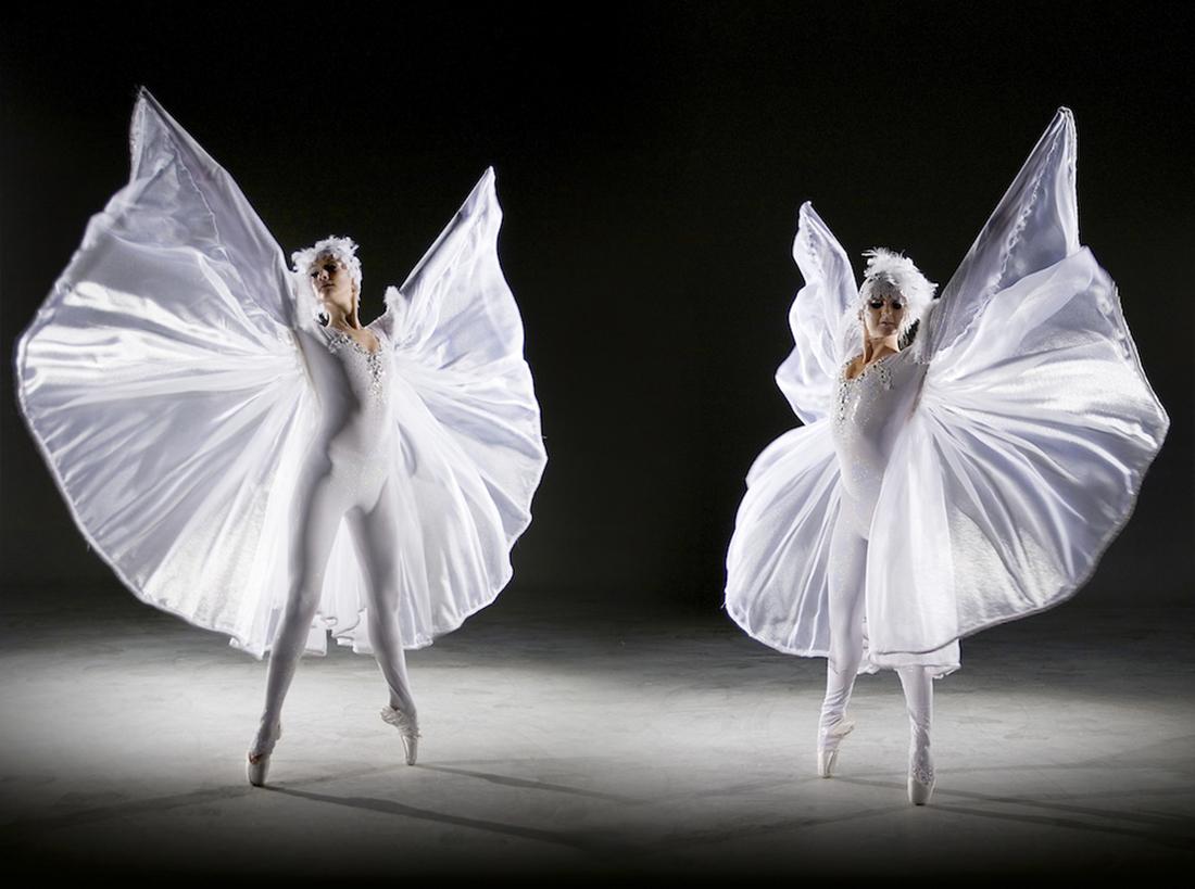 Winged ballerinas with Swarovski crystals